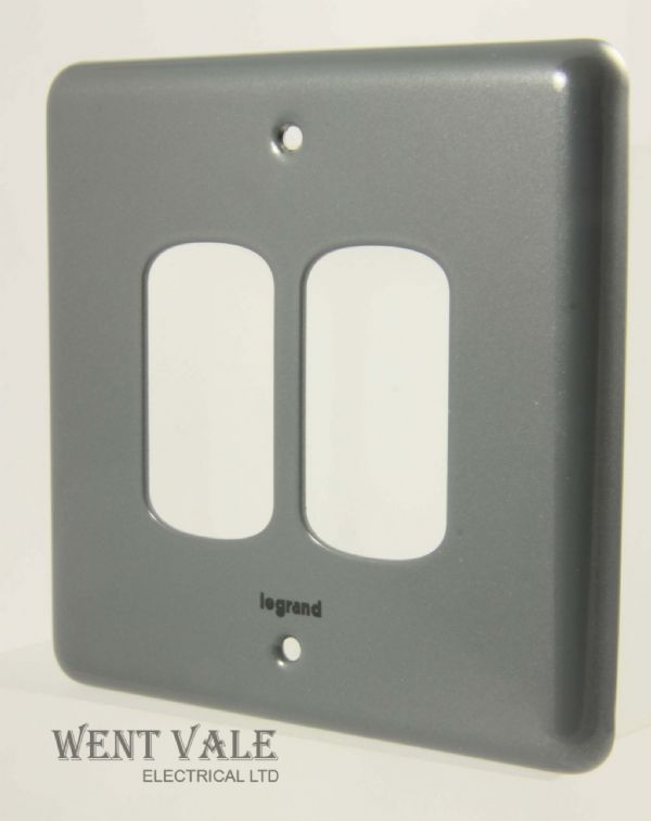 Legrand Synergy - 7339 92 - Metalclad One Gang Two Module Switch Plate New